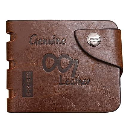 Domybest - Monedero de piel auténtica para hombre, diseño delgado, color marrón
