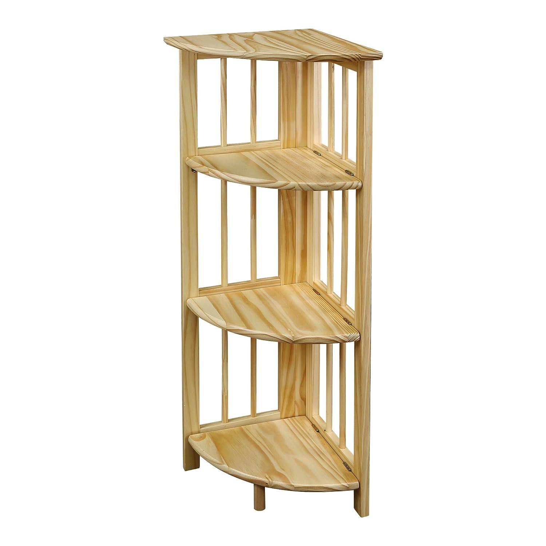 Yu Shan 3 Shelf Folding Stackable Bookcase, Natural