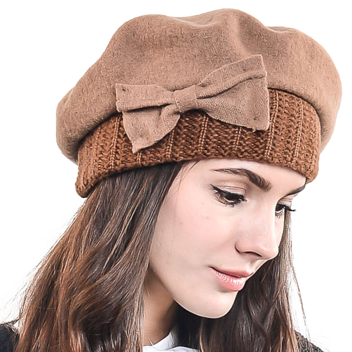 F&N STORY Lady French Beret Wool Beret Chic Beanie Winter Hat Jf-br034 (Bow Coffee)
