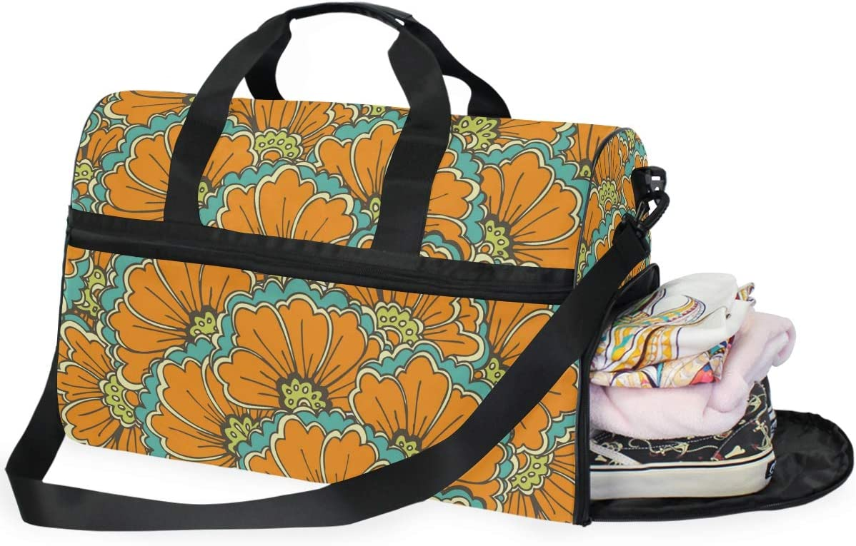 MALPLENA Orange Flower Travel Duffel Bag Weekender Bag with Shoes Compartment for Men Women