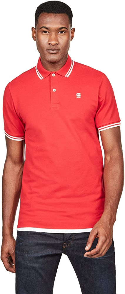 Polo G-Star Hombre S Rojo DUNDA Slim Stripe Polo SS Flame Milk ...
