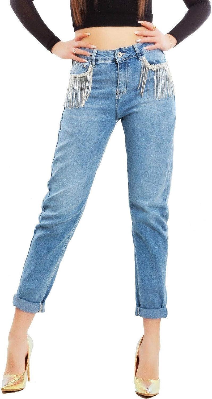 Toocool Jeans Donna Pantaloni Boyfriend Frange Strass Denim Gioiello M6706