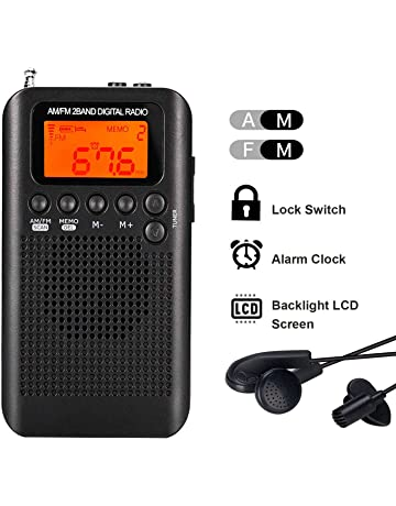 Lychee Radio de Bolsillo Portátil Mini Am Radio Estéreo FM con Altavoz, Reloj Despertador y