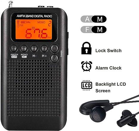 Lychee Radio de Bolsillo Portátil Mini Am Radio Estéreo FM con Altavoz, Reloj Despertador y Temporizador para Dormir, Auriculares (Negro): Amazon.es: Electrónica