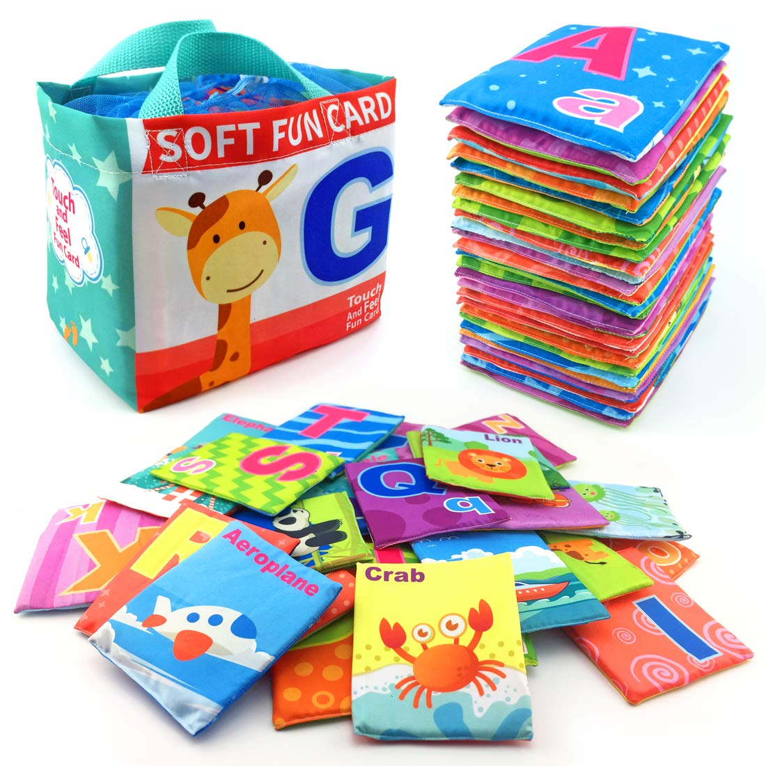 26 Pieces Soft Alphabet Cards with Cloth Storage Bag for Infants, Toddlers and Kids ABCs Learning, Best Educational Toy for Toddlers, Early Learning and Preschool Boys and Girls