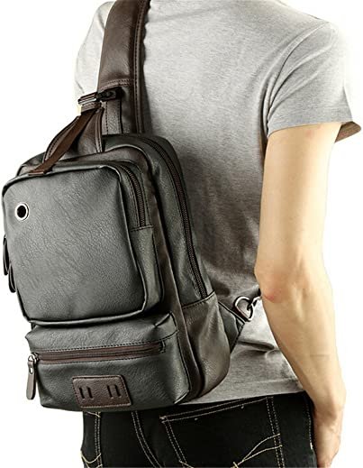 Gumstyle Fashion Men s Leather Cross Body Daypacks Chest Pack Bag Black