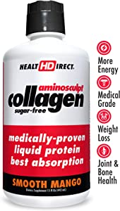 Medical-Grade Liquid Collagen Supplement | AminoSculpt Sugar-Free | 15 Fl Oz | Smooth Mango | Burn Fat | Recovery | Good for Joints, Bones, and Sleep | Better Hair, Skin and Nails