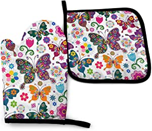 MSGUIDE Colorful Butterflies and Flowers Oven Mitts Pot Holders Set, Heat Resistant Kitchen Waterproof with Inner Cotton Layer for Cooking BBQ Baking