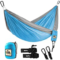 Wolfyok Portable Camping Single & Double Hammock Lightweight Portable Nylon Hammock with Parachute Nylon Ropes and Solid Carabiners for Backpacking, Camping, Travel, Beach, Yard