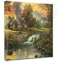 Thomas Kinkade Mountain Retreat 14 x 14 Gallery Wrapped Canvas