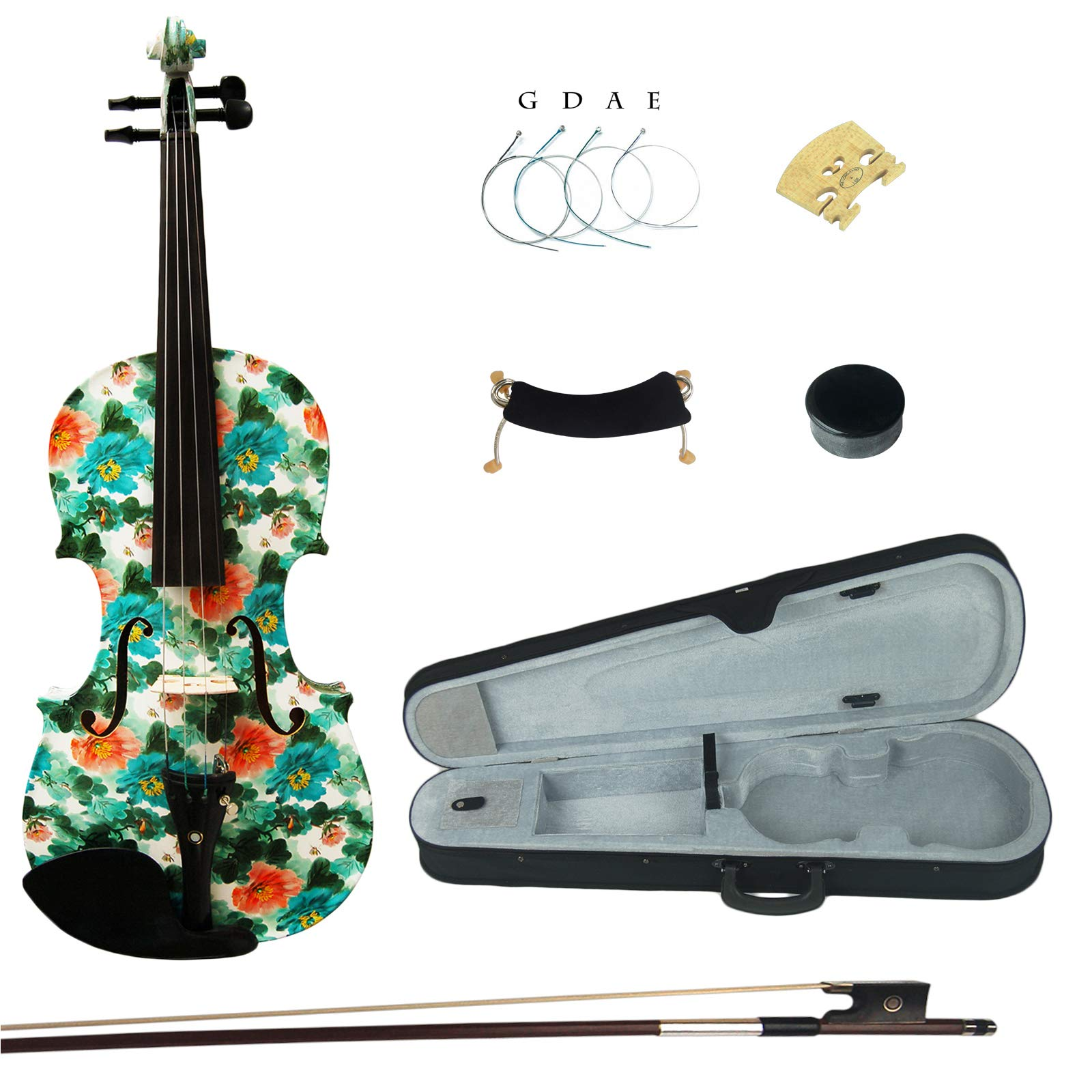 Kinglos 4/4 Blue Orange Flower Colored Ebony Fitted Solid Wood Violin Kit with Case, Shoulder Rest, Bow, Rosin, Extra Bridge and Strings Full Size (YZ1206)