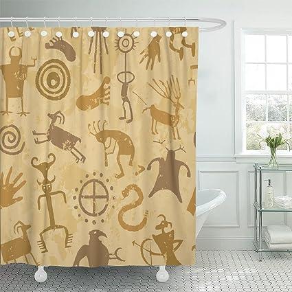 Amazon TOMPOP Shower Curtain Brown Kokopelli Cave Painting Tan