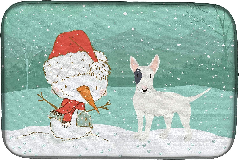 Carolines Treasures CK2059DDM White Spot Bull Terrier Snowman Christmas Dish Drying Mat 14 x 21 Multicolor Caroline/'s Treasures CK2059DDM White Spot Bull Terrier Snowman Christmas Dish Drying Mat 14 x 21
