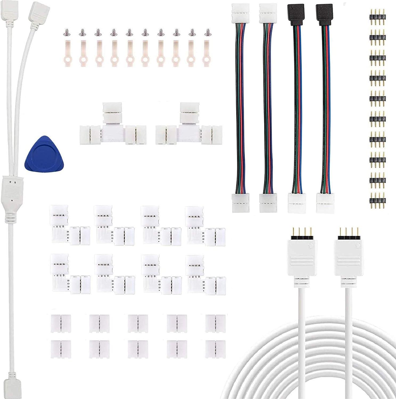 Kundorf Conector de tira de LED, extensión de tira de LED, conector de esquina de tira de LED, clip autoadhesivo, cable de distribución RGB, conector de 4 pines, para tira de LED RGB de 10mm y 4 pines