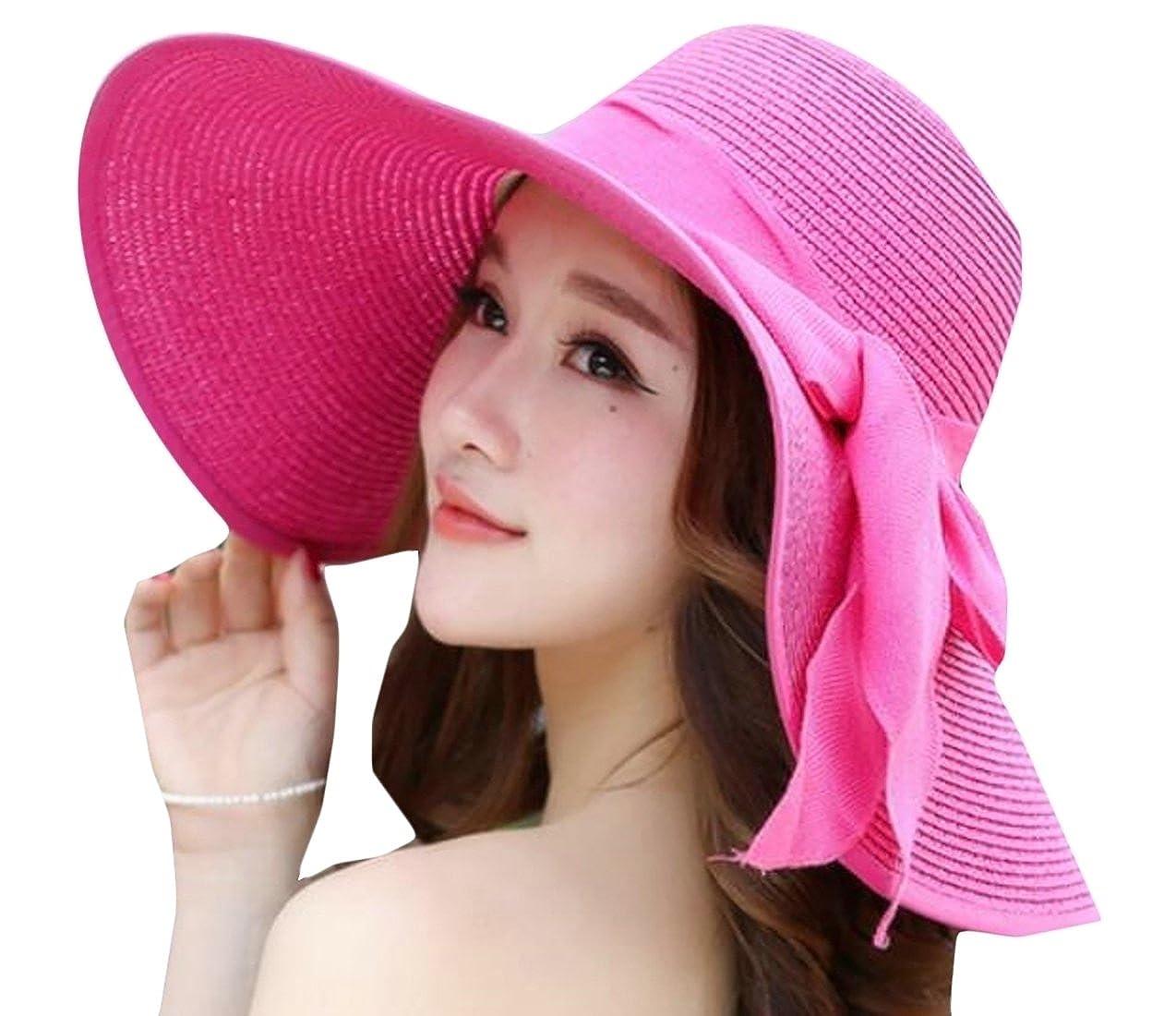 WSPLYSPJY Womens Beach Hat Women Large Brim Straw Sun Hats Roll up Packable UPF 50+