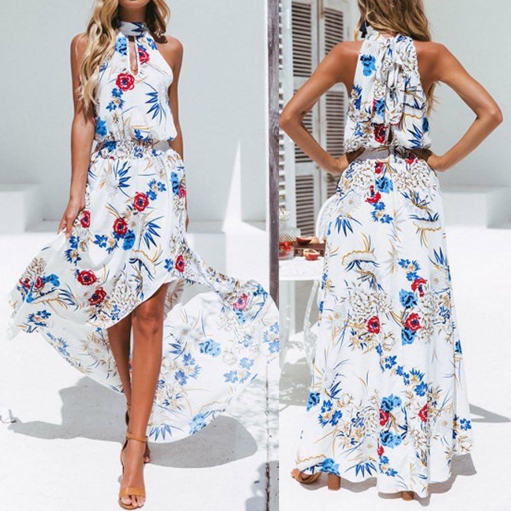 Anliyou Boho Floral Long Maxi Dress Sleeveless Evening Party Summer Beach Sundress