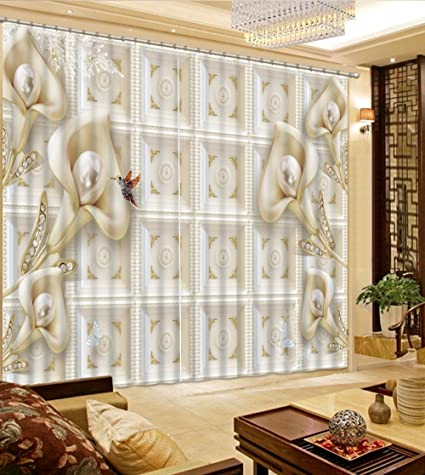 Amazon wapel simple and white flowers 3d blackout curtains wapel simple and white flowers 3d blackout curtains window curtain living room home improvement bedroom curtains mightylinksfo
