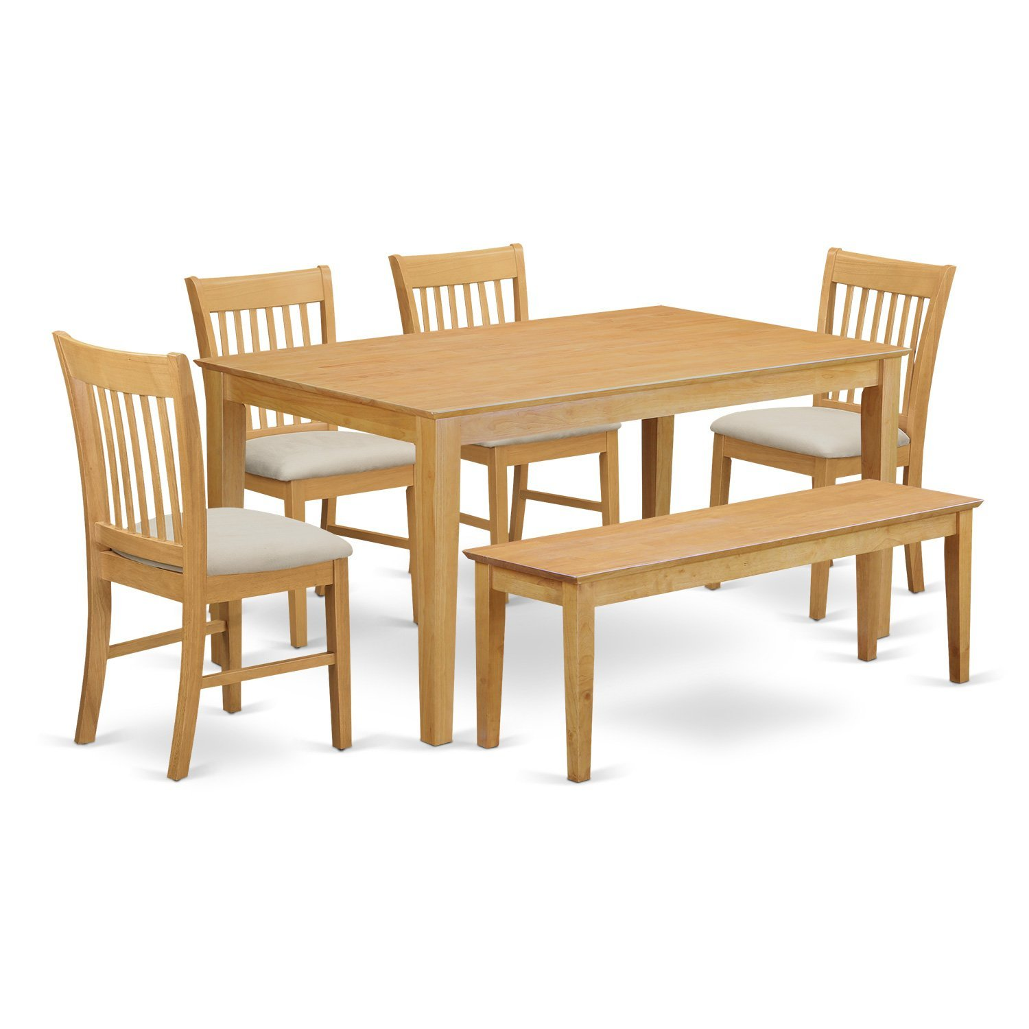 Amazon.com: East West Furniture CANO6-OAK-W 6-Piece Dining Table Set ...