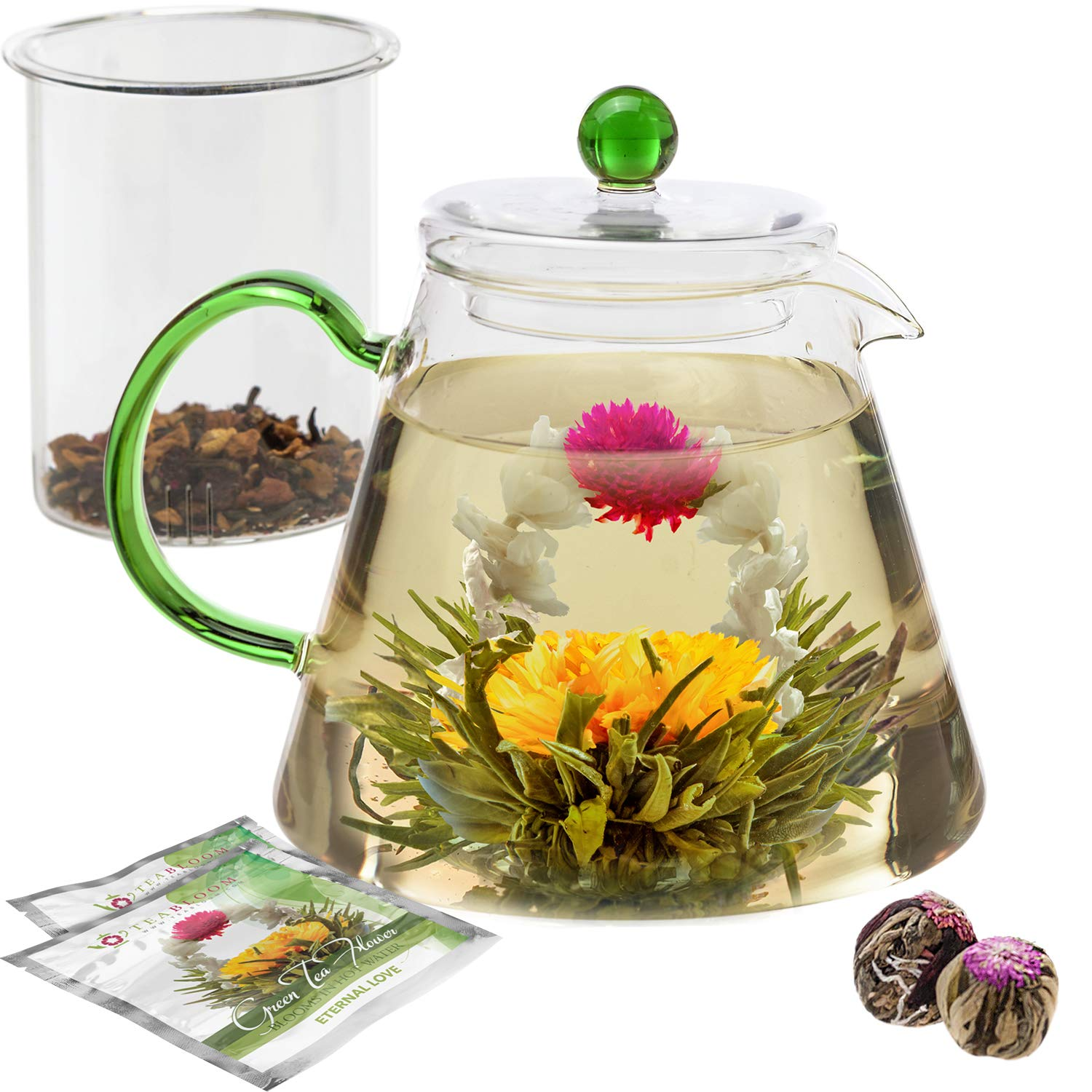Teabloom Stovetop Safe Glass Teapot with Loose Tea Infuser (34 oz) - Blooming Tea Flowers Included (2) - Blooming Oasis