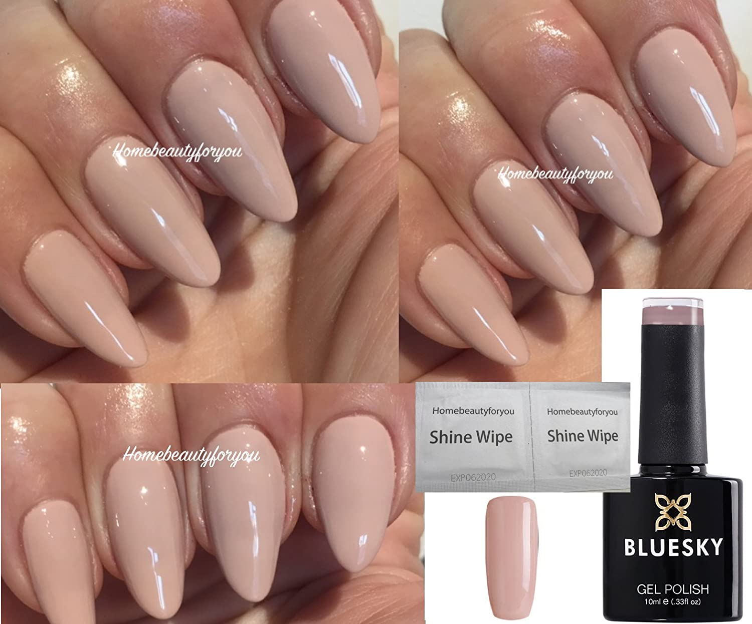 Bluesky Bare Nude Light Beige Limited Edition Nail Gel Polish UV LED Soak Off 10ml PLUS 2 Homebeautyforyou Shine Wipes LTD