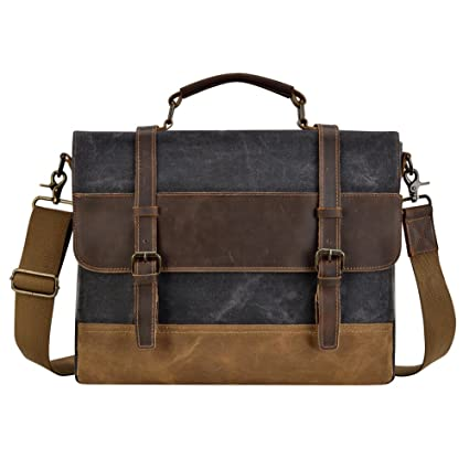 b4c0b3c74b77 Image Unavailable. Image not available for. Color  KOPACK Mens Messenger Bag  15.6 Inch Waterproof Genuine Leather ...