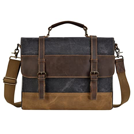 e765527b18 Image Unavailable. Kopack Mens Messenger Bag 15.6 inch Waterproof Genuine  Leather Waxed Canvas Briefcase Vintage Leather Computer Laptop