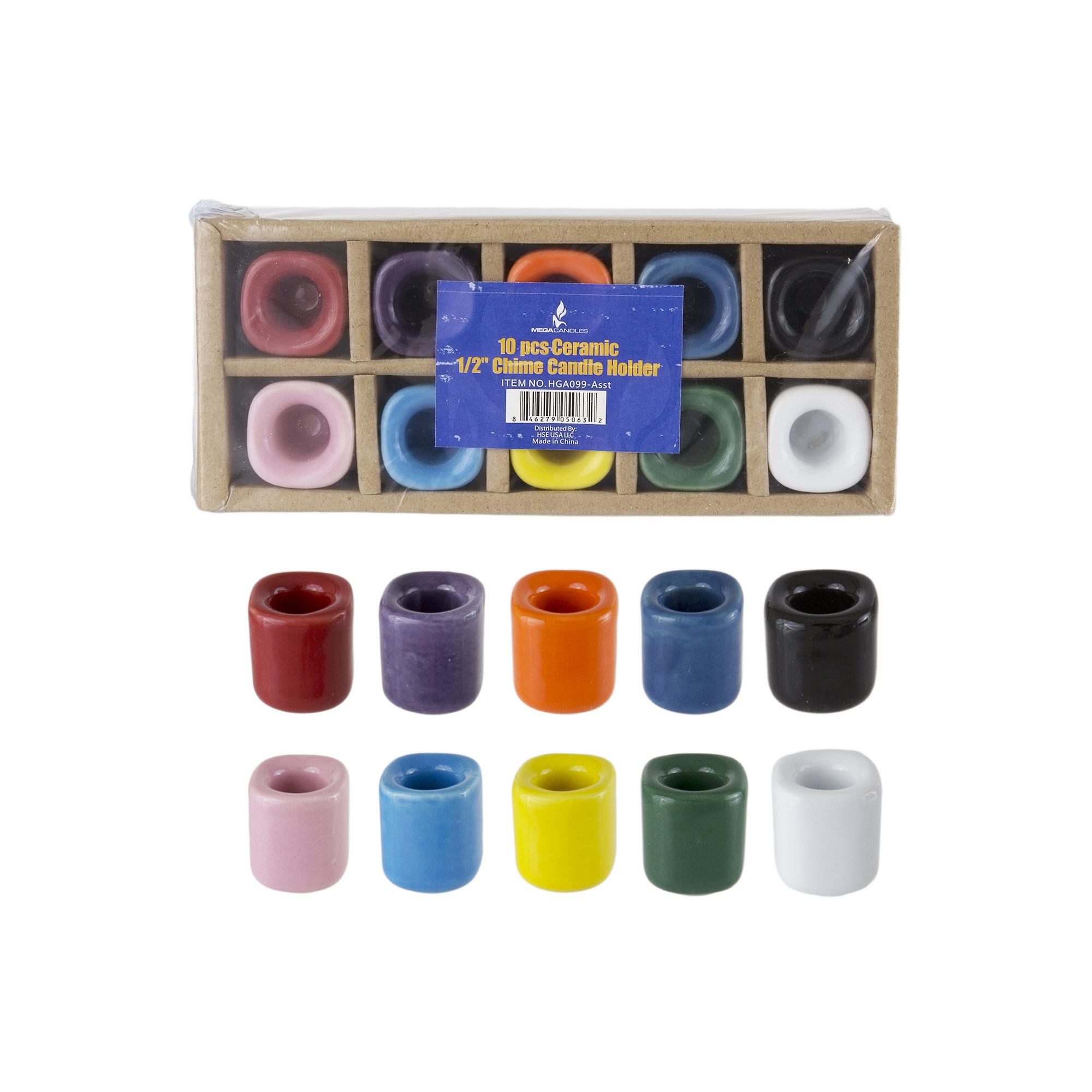 Mega Candles 10 pcs Ceramic Chime Ritual Spell Candle Holders - Assorted Colors