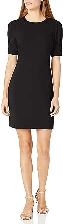 Amazon Brand - Lark & Ro Women's Fluid Stretch Crepe Puff Half Sleeve Crew Neck Dress