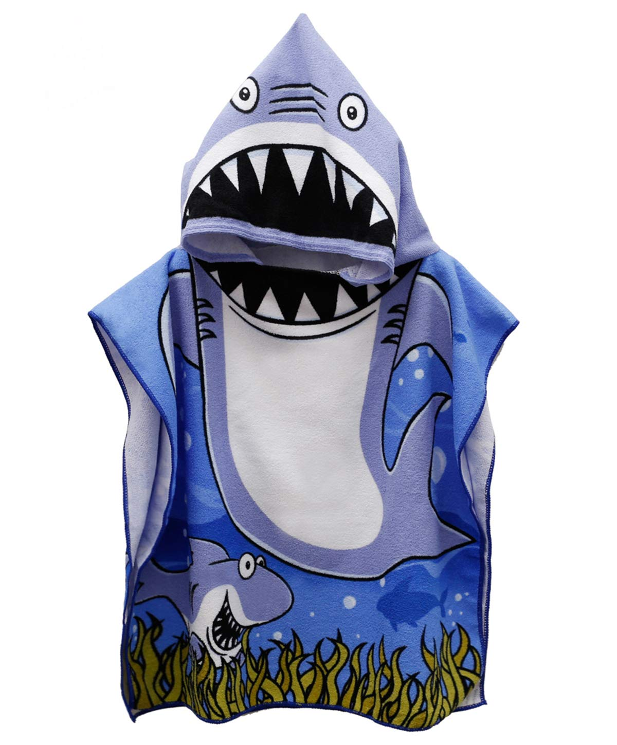 Genovega Toddler Hooded Beach Bath Towel – Baby Shark Soft Beach Towel Swim Pool Coverup Poncho Cape for Boys Kids Children Gift, 1-7 Years Old Bath Robe