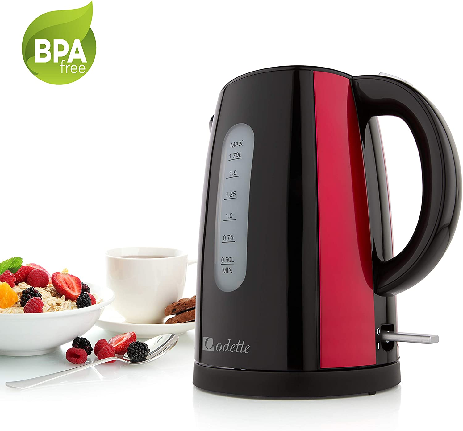 Odette Fast Boil 7 Cup 1.7 Liter BPA-Free Cordless Black and Red Electric Kettle with Auto Shut Off, Boil Dry Protection and Double Layer Handle for Cool Touch