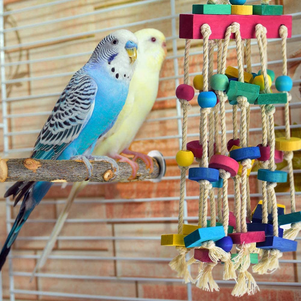 Budgie Toys Parrot Toy Bird Toys Bird Toy Parrot Toys Ferris Wheel Cotton Rope Nibble Wood Chip Toy Chew Toy Bird Cage Accessories a