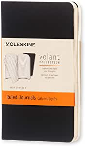 """Moleskine Volant Journal, Soft Cover, XS (2.5"""" x 4"""") Ruled/Lined, Black, 56 Pages (Set of 2)"""