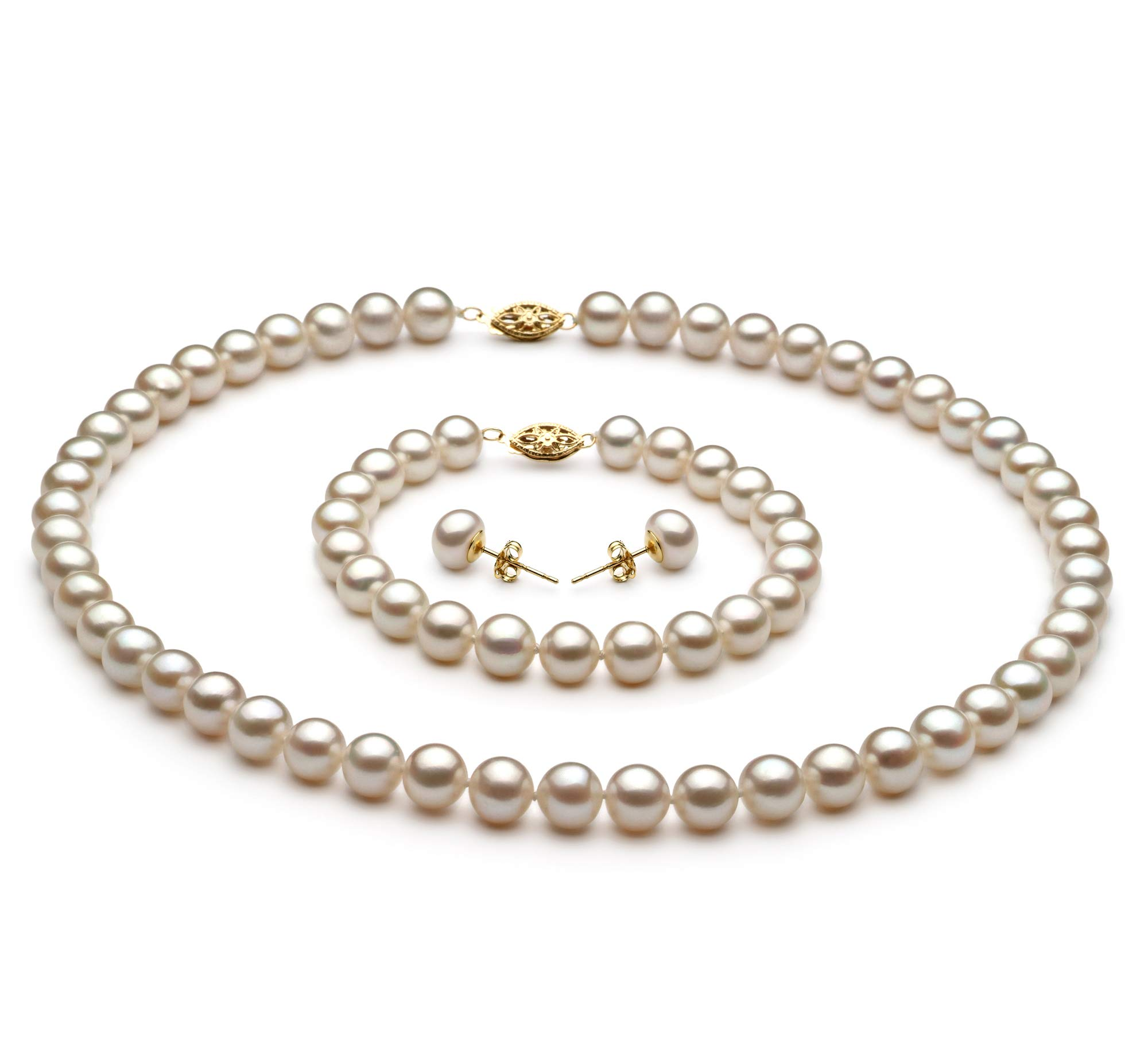 White 7.5-8.5mm AA Quality Freshwater Cultured Pearl Set for Women-18 in Princess Length