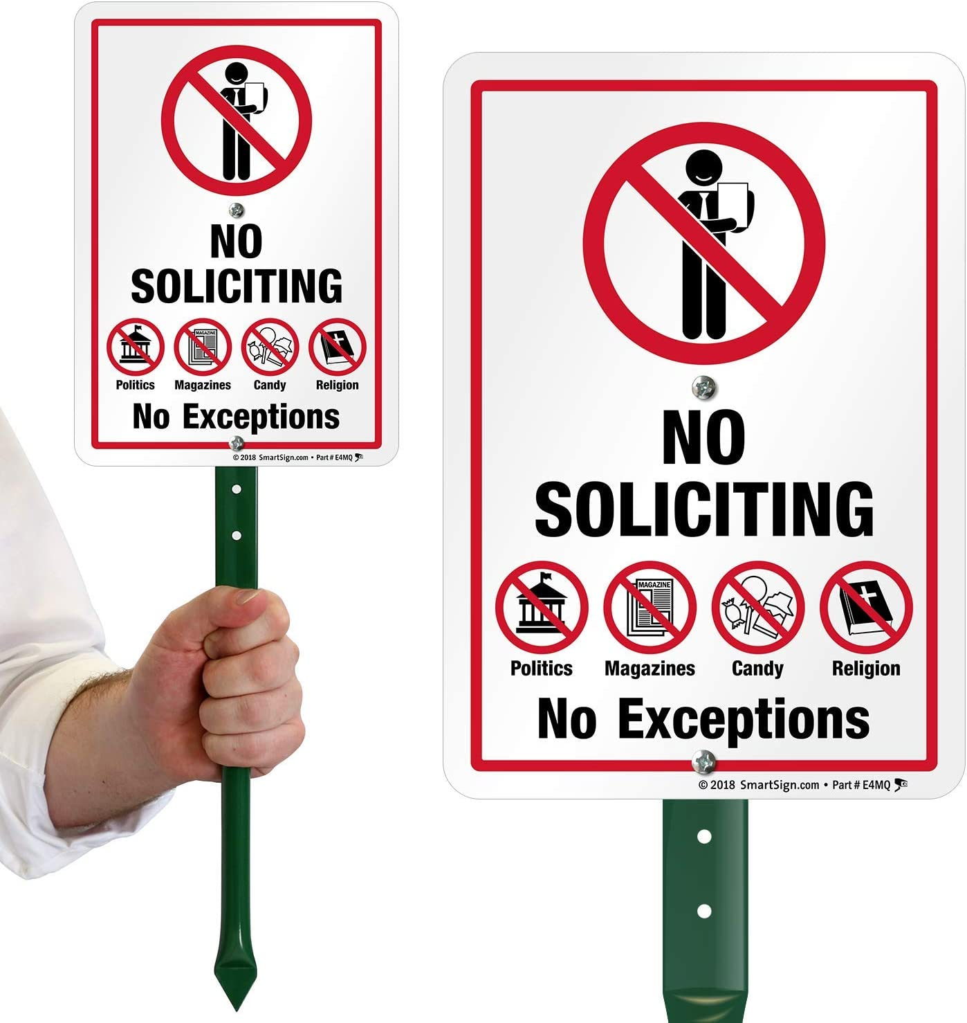 """SmartSign No Soliciting Sign for Yard, No Soliciting No Exceptions, No Politics Magazines Candy Religion Sign for Lawn, 10x7 Inches  21"""" Tall Stake & Sign Kit, Easy Installation"""