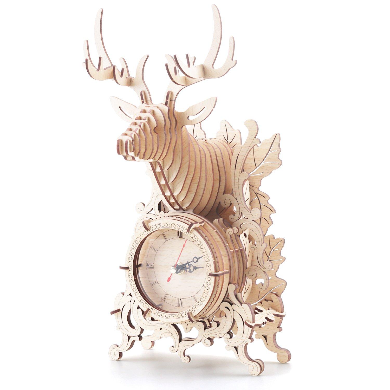 Amy & Benton 3D Wooden Puzzles Reindeer Desk Clock for Christmas-52 Jigsaws