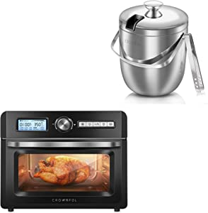 CROWNFUL 19 Quart Air Fryer Toaster Oven and 2.8L 304 Stainless Steel Ice Bucket