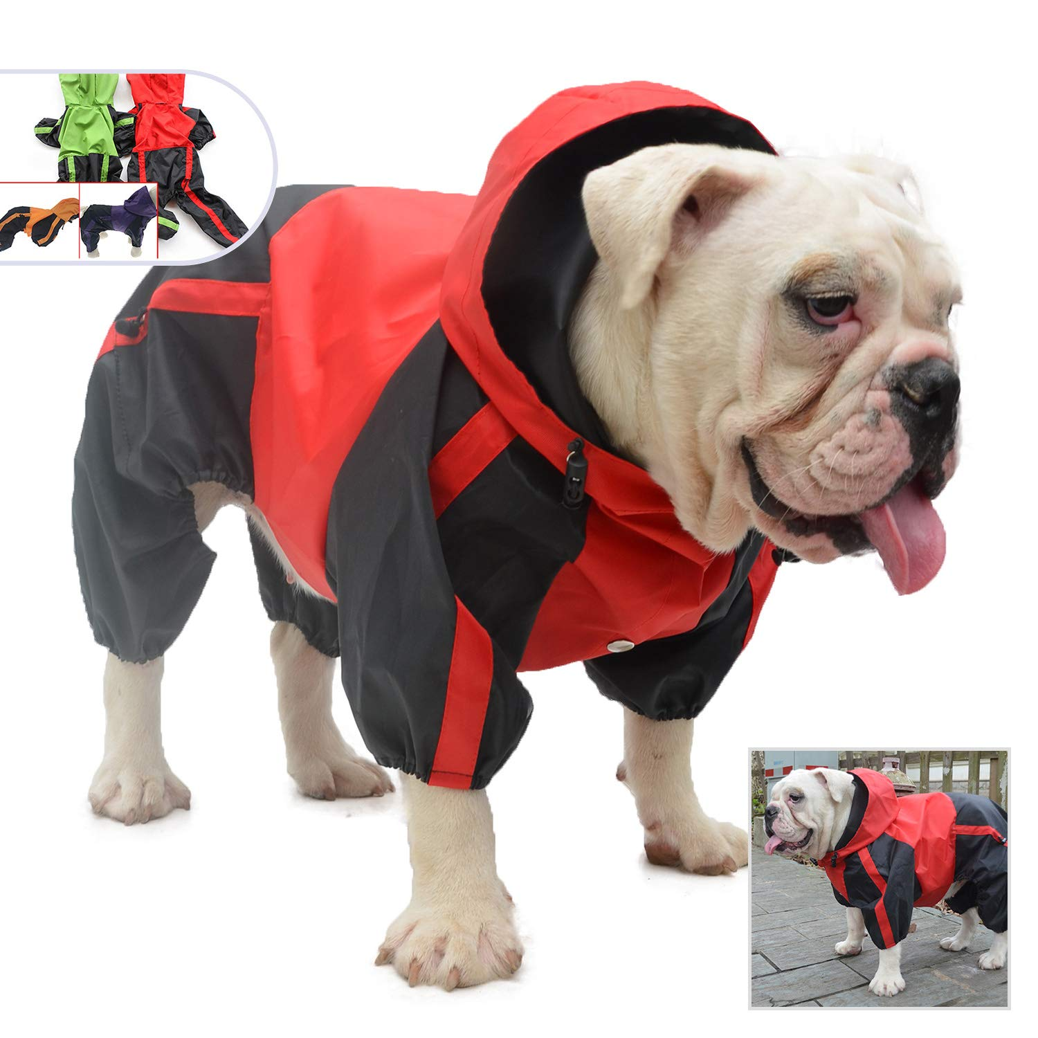 Pet Apparel Dog Clothing Clothes Rain Snow Coats Waterproof Raincoats 4 Four Legs Raincoat for Small Medium Large Big Size Dogs Adorable Hoodie Costumes for Golden Retriever Labrador Chihuahua Poodle