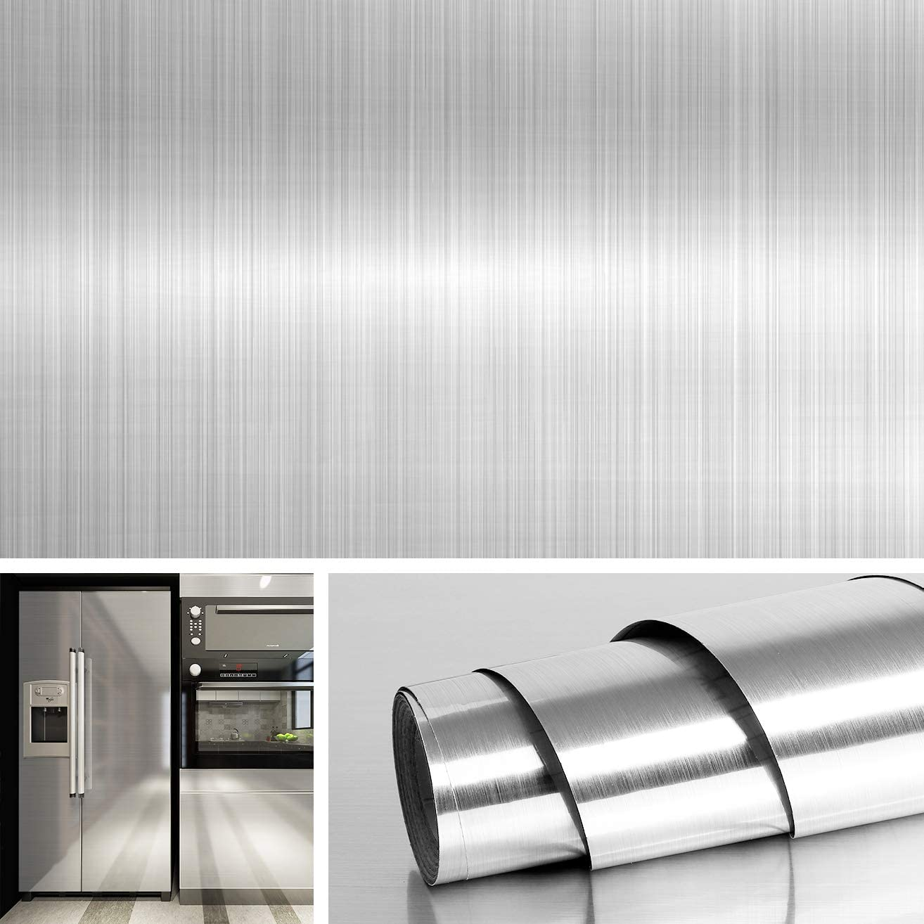 Livelynine 15.8x394 Inch Brushed Nickel Wallpaper Peel and Stick Countertop Stainless Steel Wall Paper Decorative Wall Paper for Kitchen Microwave Dishwasher Refrigerators Oven Dryer Covers