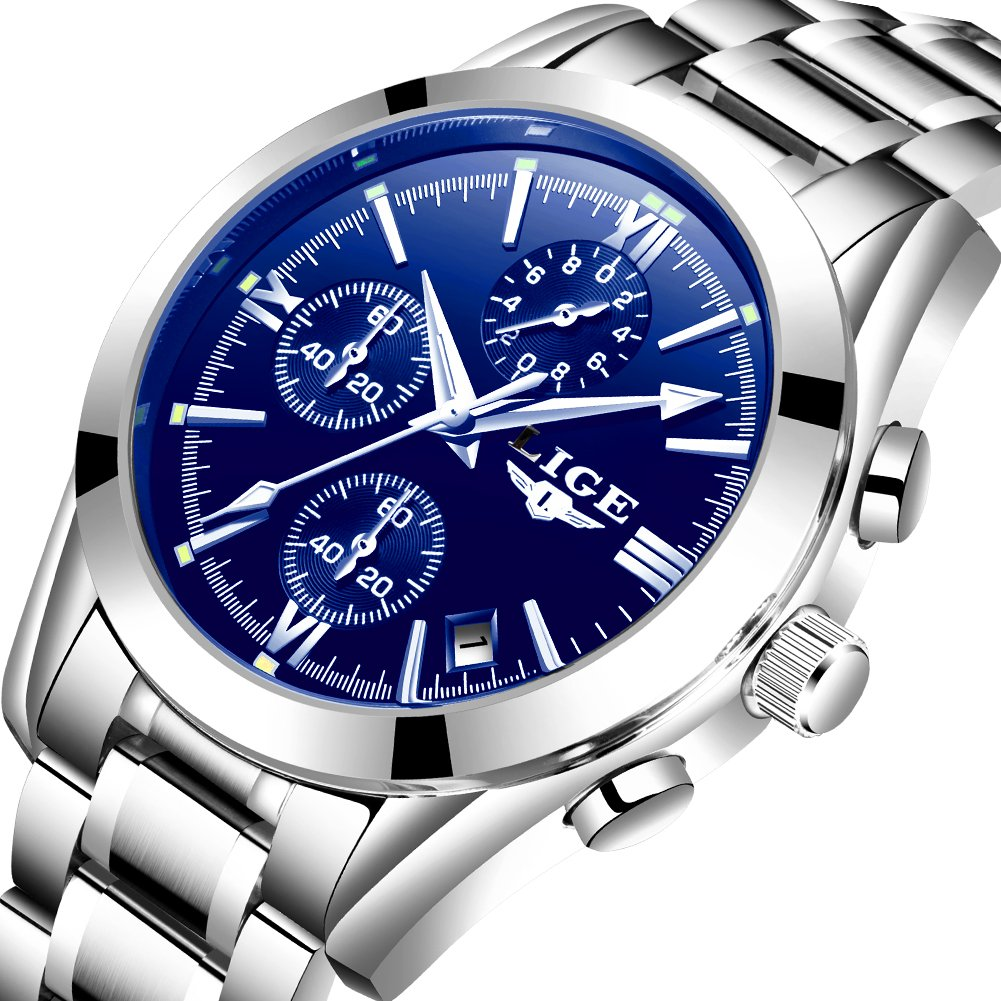 Watches Mens Waterproof Stainless Steel Analog Quazrt Wrist Watch Man Luxury Brand LIGE Business Dress Silver Blue Clock