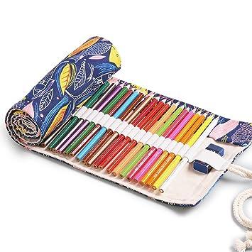 Estuche enrollable de lona para lápices de colores para ...