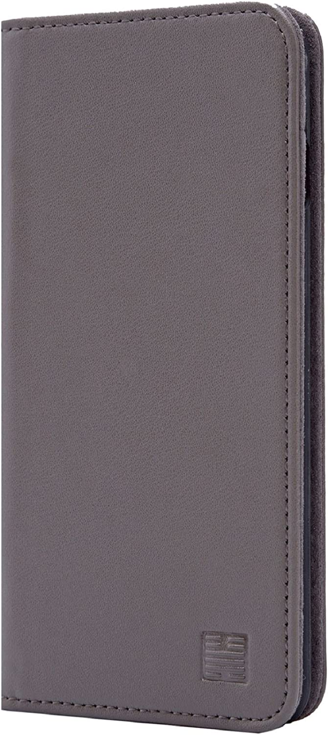 32nd Classic Series - Real Leather Book Wallet Case Cover for Apple iPhone 7, 8 & SE (2020), Real Leather Design with Card Slot, Magnetic Closure and Built in Stand - Elephant Grey