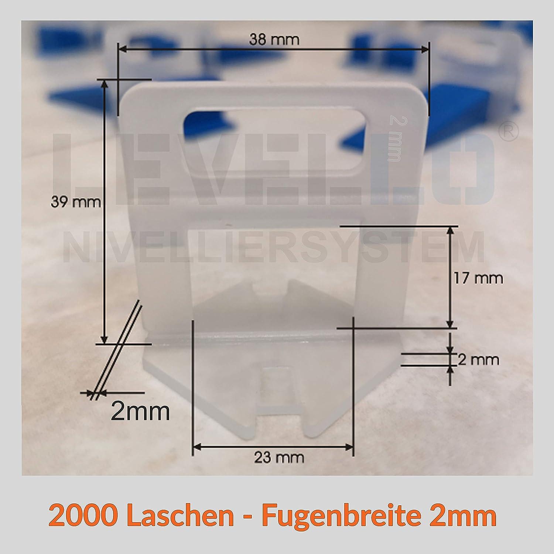 praktisches geschenk 2000 St/ück Standard Laschen Fugenbreite 2mm Zuglaschen Nivelliersystem Verlegen Fliesen Nivellierhilfe Levello 2mm Verlegehilfe f/ür Fliesen H/öhe 3-12 mm