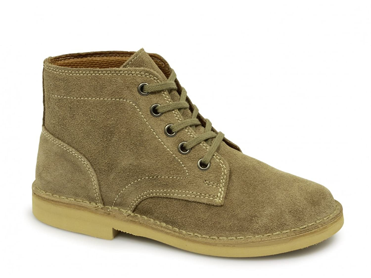 147e9aa1bb5 Mens D Ring Desert Boots Light Taupe Suede Leather   Tread Grip sole ...