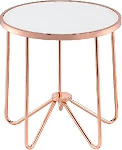 Acme Alivia End Table, Frosted Glass & Rose Gold