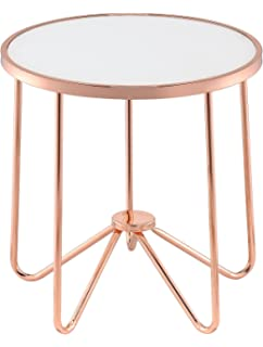 ACME Furniture Acme 81837 Alivia End Table, Frosted Glass U0026 Rose Gold, One  Size