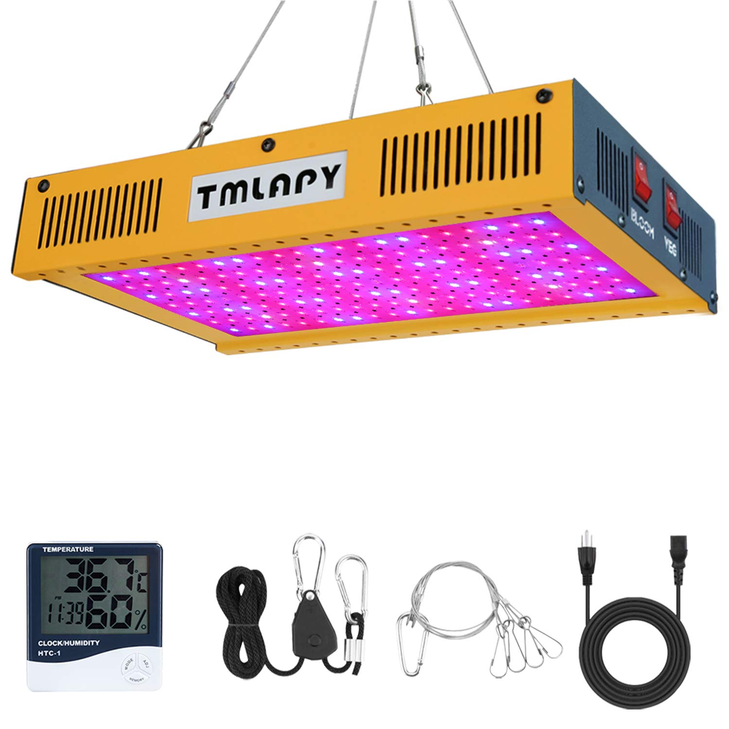 Tmlapy LED Plant Grow Light 1500W - Full Spectrum LED Plant Growing Lamp with Veg and Bloom Switch for Hydroponic Greenhouse Indoor Plants Veg and Flower((Dual-Chip 10W LEDs)) by Tmlapy