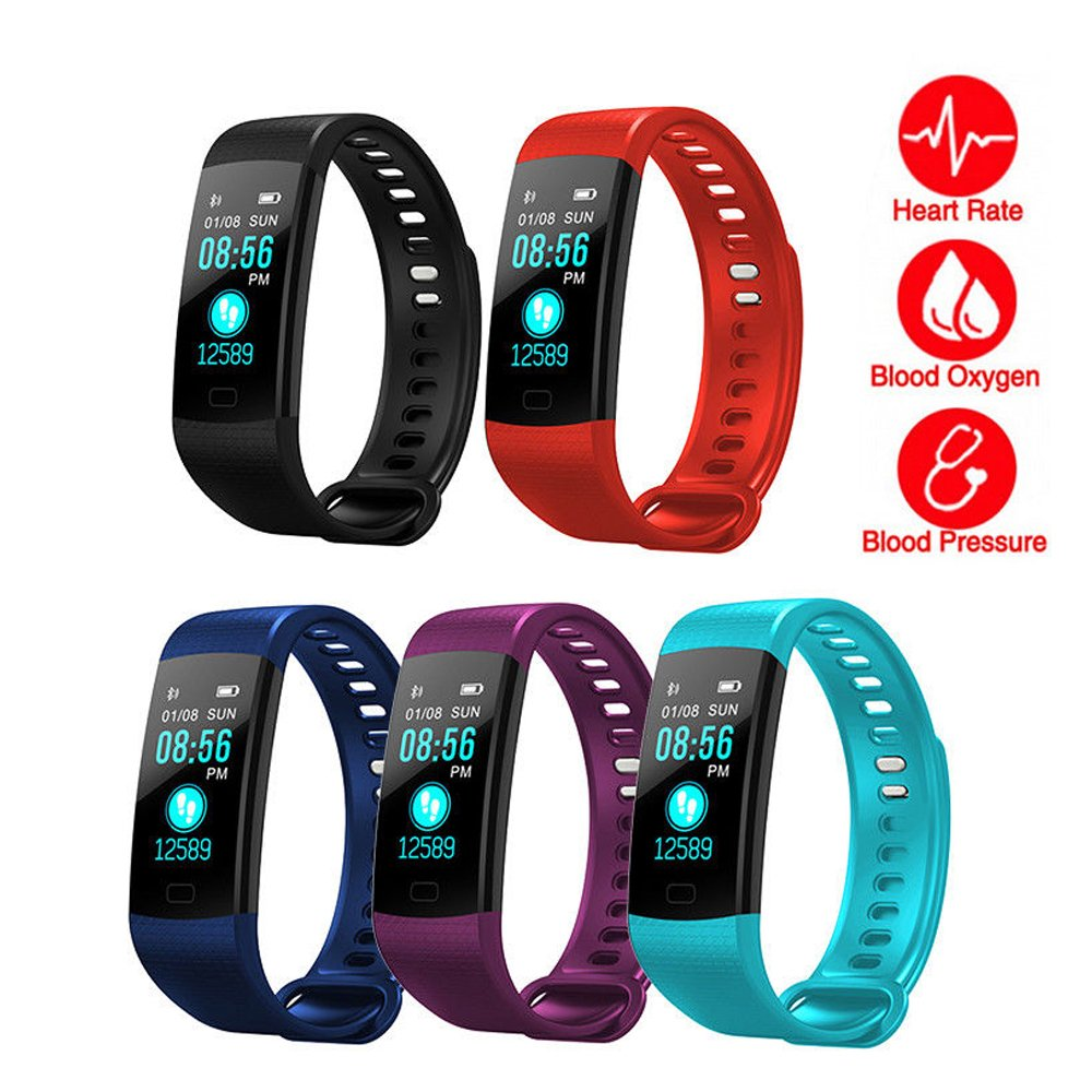 Idol Y5 Fitness Tracker with Heart Rate Sleep Monitor Color Screen Bluetooth Smart Watch Activity Tracker Waterproof Step Counter Pedometer and Calorie Counter for Android IOS (Y5 Smart Watch Blue)