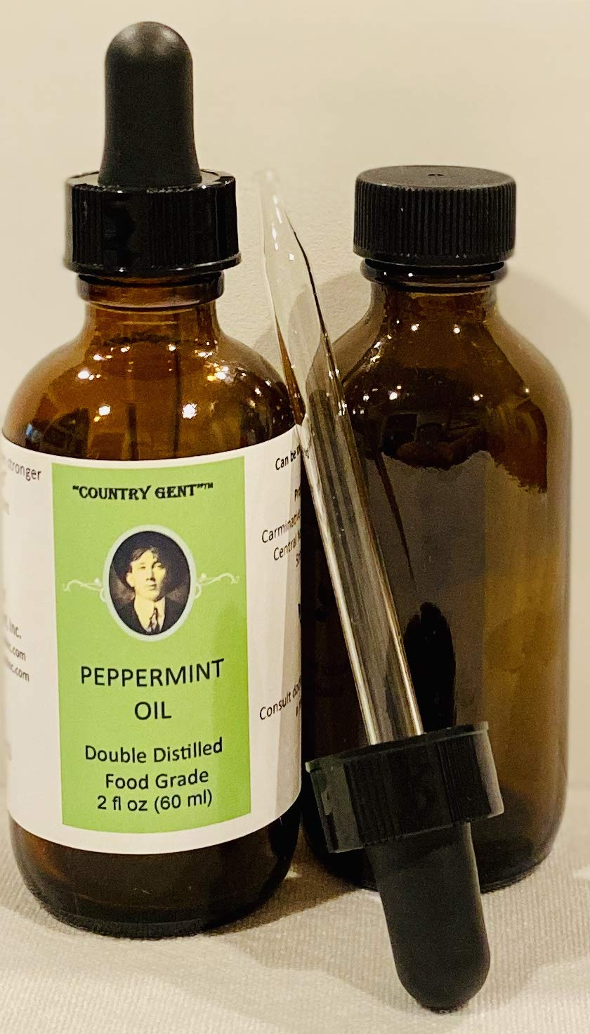 Peppermint Oil, Double Distilled- Food Grade 2 Oz. with Glass Dropper