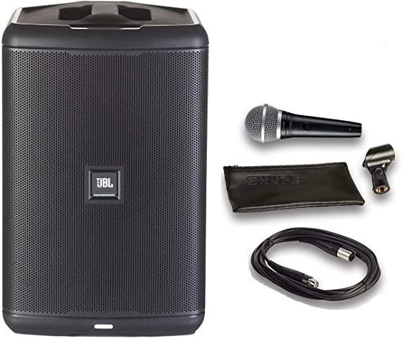 JBL EON ONE Compact All-in-1 Rechargeable Personal PA System with Bluetooth Bundle with Shure PGA48 Microphone