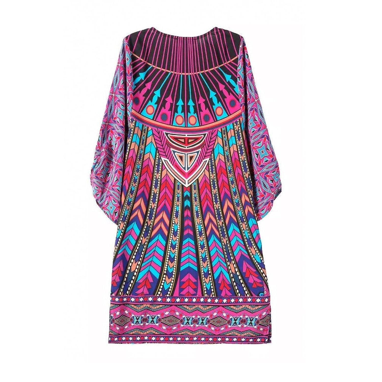 2016 Summer Chiffon Geometric Coachella Vintage Shocking Pink Dress